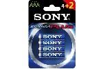 Sony AM4-B4X2D Alkaline LR03-AAA Stamina Plus 4+2pcs, AAA