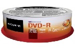 5 psc Sony 25 DVD-R spindle 16x + 5 psc Sony DVD-RW 4.7GB Slim case