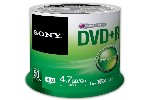 5 psc Sony 50DVD+R spindle 16x + 5 psc Sony DVD-RW 4.7GB Slim case